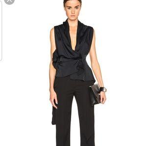 Victoria Beckham matte satin drape wrap top